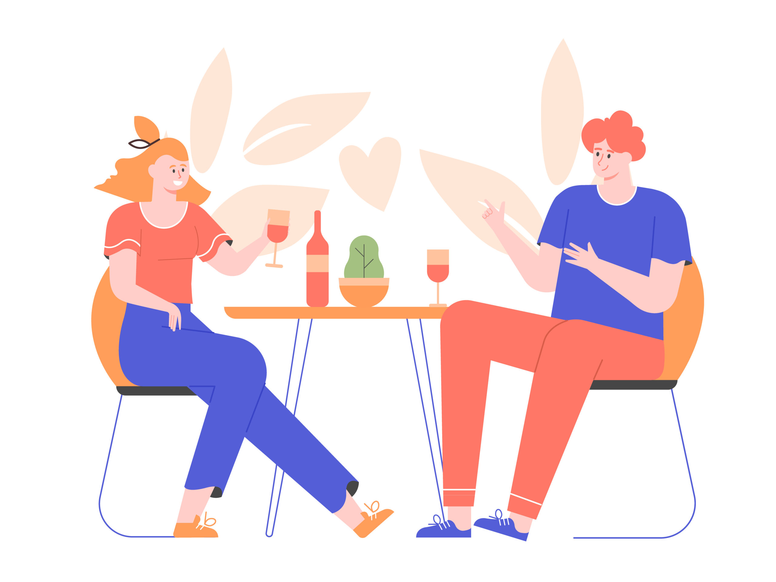 Young couple on a date at a restaurant. Man and woman drink wine at the table. Love and relationships. Vector flat illustration.